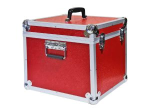 "Aluminium 12"" LP Case Red Square Design - 100 Capacity"